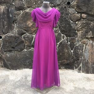 VINTAGE chiffon maxi with draping detail. Flawed